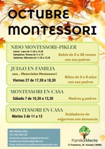 Talleres Montessori de octubre en FamiliarMente